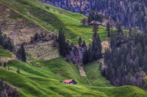 Beautiful countryside in the alpine valleys